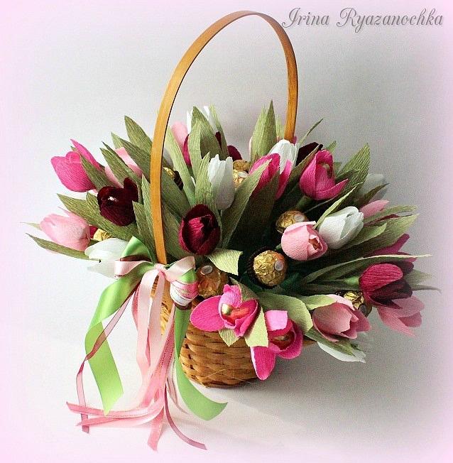 Тюльпаны из бумаги в корзинке своими руками 68