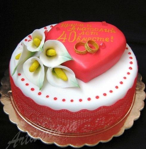 Торт на рубиновую свадьбу фото