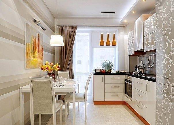 Дизайн кухни продолговатая