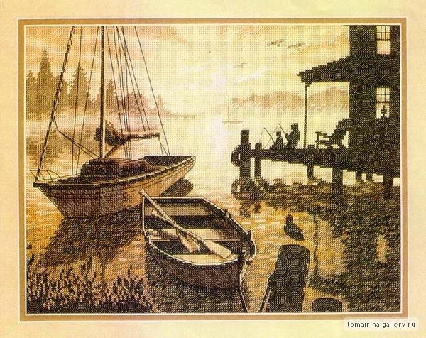 дименшенс вышивка лодка