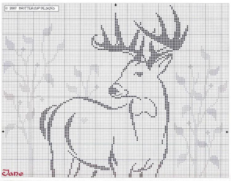 Схемы вышивок крестом олени 462