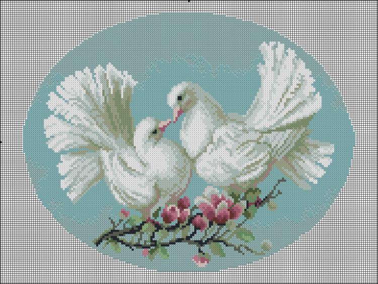 Вышивка.Птицы голуби.