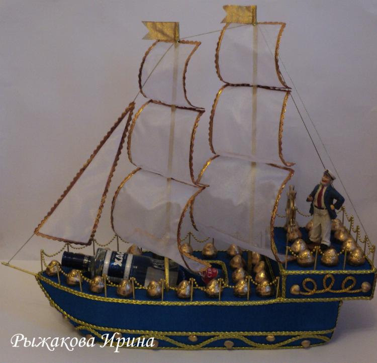 Корабль с шампанским и конфетами своими руками