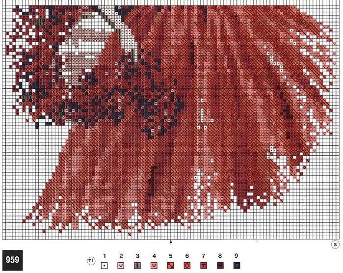 Схема для вышивки леди в красном