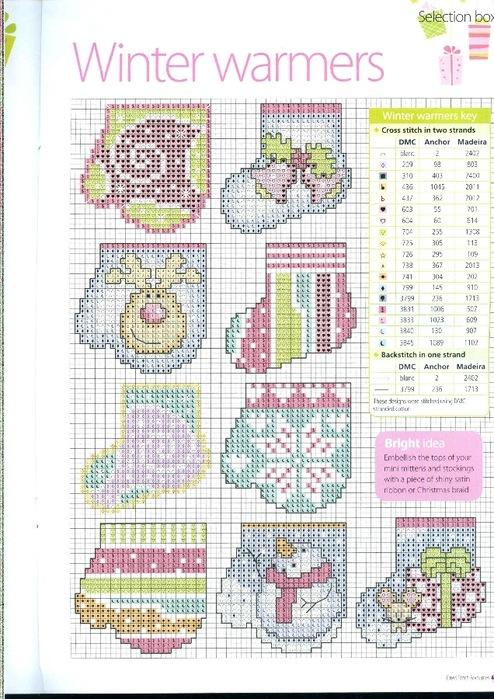 Схема вышивки новогодних варежек